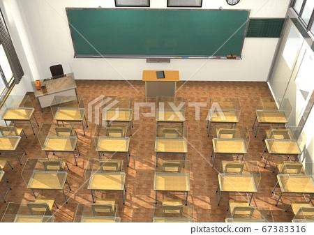 3DCG教室圖像,其中包括針對新型冠狀病毒等傳染病的措施 67383316