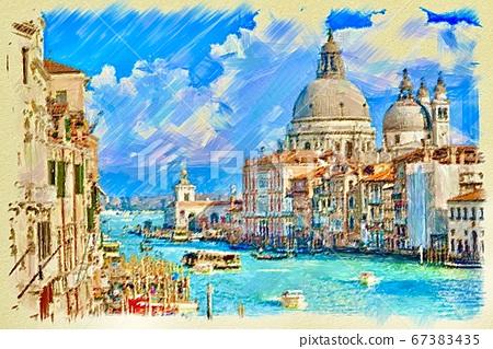 威尼斯的美麗風景的插圖 67383435
