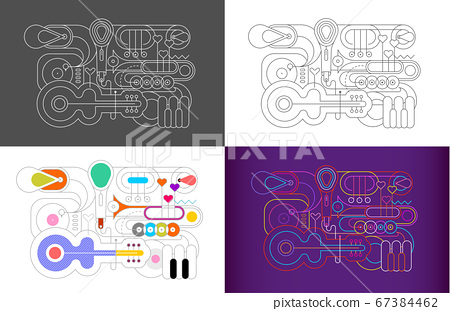 Musical Istrument Line Art Silhouettes 4 options 67384462