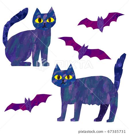 矢量黑貓和蝙蝠圖萬聖節材料 67385731