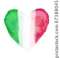 意大利國旗與心符號 67388045