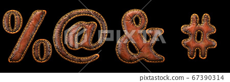 Set of symbols percent, at, ampersand and hash made of leather. 3D render font with skin texture isolated on black background. 67390314