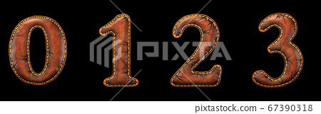 Set of numbers 0, 1, 2, 3 made of leather. 3D render font with skin texture isolated on black background. 67390318