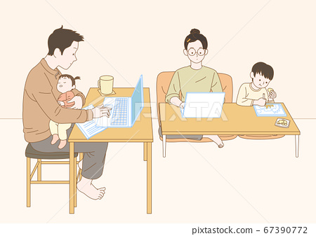 Stay home concept with flat design illustration 010 67390772