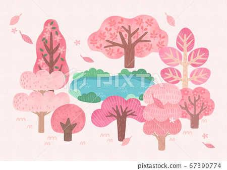 Forest, park, alley landscape, set of trees illustration005 67390774
