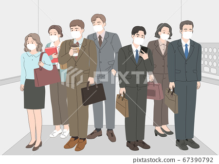 Changed daily life concept. people wearing a face mask002 67390792