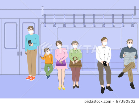 Changed daily life concept. people wearing a face mask003 67390802