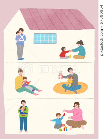 Stay home stay safe concept with flat design illustration010 67390804