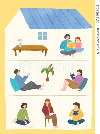 Stay home stay safe concept with flat design illustration001 67390815