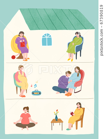 Stay home stay safe concept with flat design illustration005 67390819