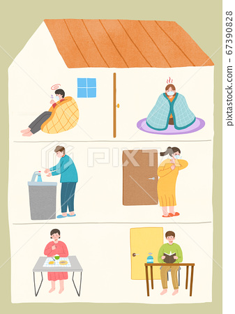 Stay home stay safe concept with flat design illustration007 67390828