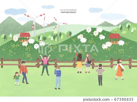 Famous landmarks of S. Korea. Time to travel, tourism illustration 008 67390835