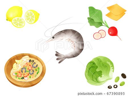 Ingredients to make Korean food illustration 007 67390893