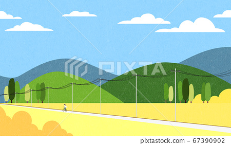 Beautiful spring landscape background illustration 012 67390902