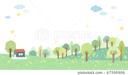 Beautiful spring landscape background illustration 001 67390906