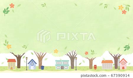Beautiful spring landscape background illustration 005 67390914