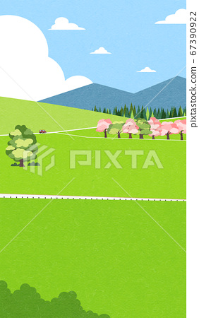 Beautiful spring landscape background illustration 010 67390922