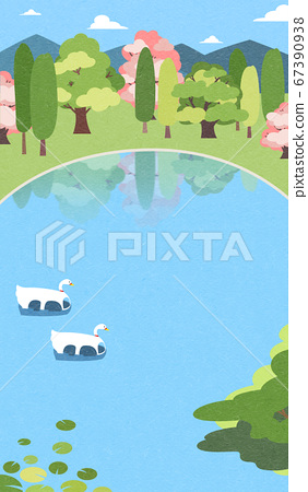 Beautiful spring landscape background illustration 005 67390938