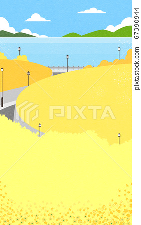 Beautiful spring landscape background illustration 008 67390944