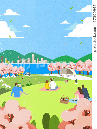 Spring landscape background. People enjoy picnic in the park illustration 006 67390947