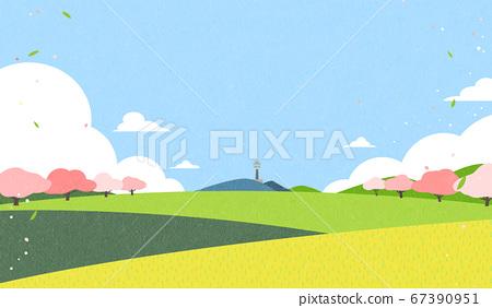 Beautiful spring landscape background illustration 003 67390951