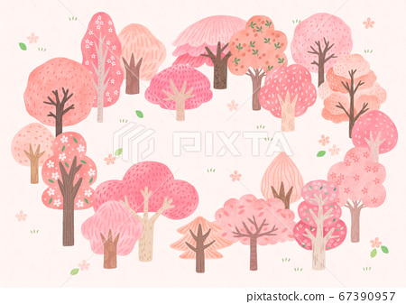 Forest, park, alley landscape, set of trees illustration001 67390957