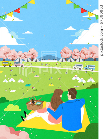 Spring landscape background. People enjoy picnic in the park illustration 008 67390963