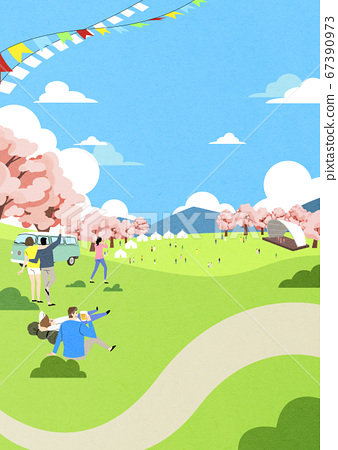 Spring landscape background. People enjoy picnic in the park illustration 003 67390973