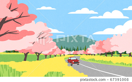 Beautiful spring landscape background illustration 007 67391008