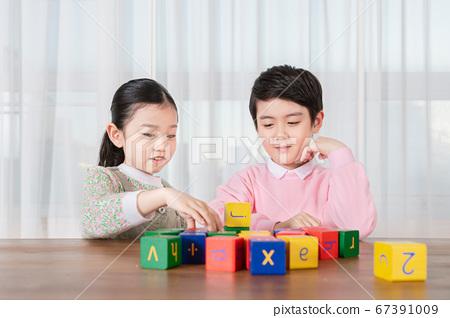 Happy children concept, a portrait of asian children smiling 285 67391009