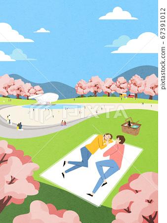Spring landscape background. People enjoy picnic in the park illustration 002 67391012