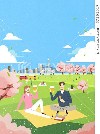 Spring landscape background. People enjoy picnic in the park illustration 001 67391017