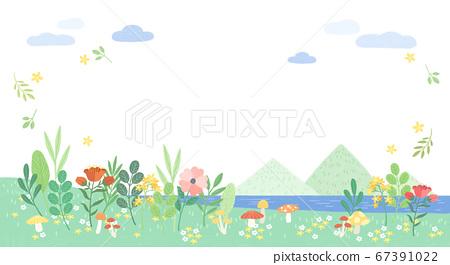 Beautiful spring landscape background illustration 004 67391022