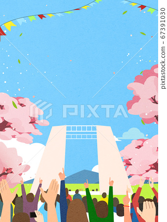 Spring landscape background. People enjoy picnic in the park illustration 007 67391030
