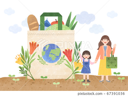 Ecology design concept. tree planting, recycling illustration 002 67391036