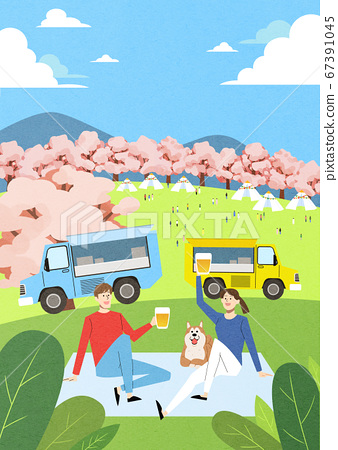 Spring landscape background. People enjoy picnic in the park illustration 004 67391045