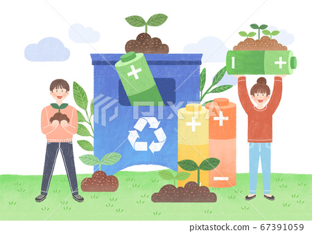 Ecology design concept. tree planting, recycling illustration 007 67391059