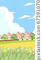 Beautiful spring landscape background illustration 009 67391070