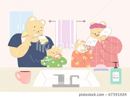 Cute happy animal family of bears illustration 002 67391084