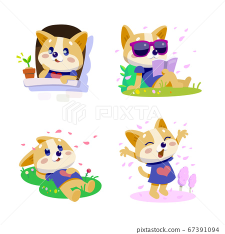 Cute little dogs showing various emotions and actions illustration 005 67391094