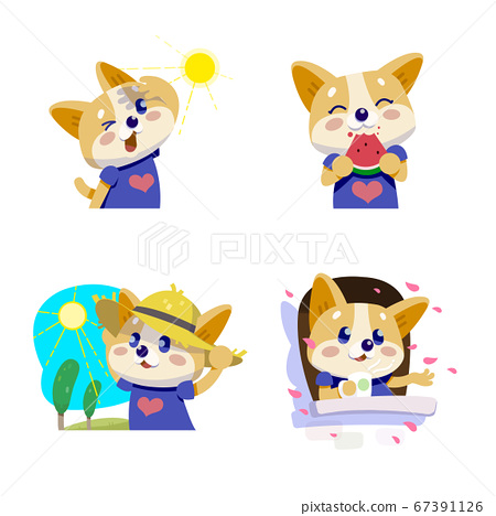 Cute little dogs showing various emotions and actions illustration 007 67391126