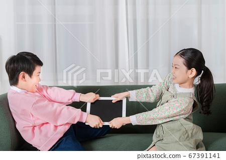 Happy children concept, a portrait of asian children smiling 304 67391141
