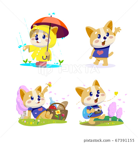 Cute little dogs showing various emotions and actions illustration 001 67391155