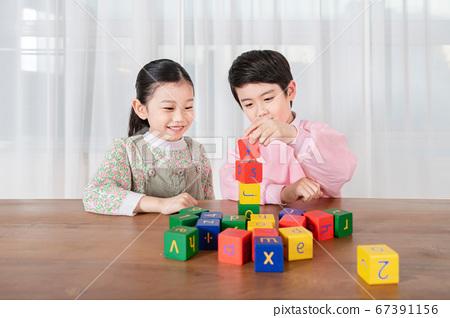 Happy children concept, a portrait of asian children smiling 290 67391156