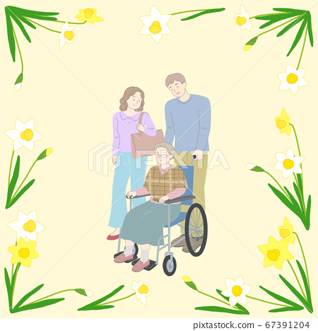Spring floral frame with happy people illustration 015 67391204