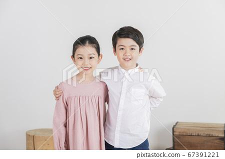 Happy children concept, a portrait of asian children smiling 243 67391221