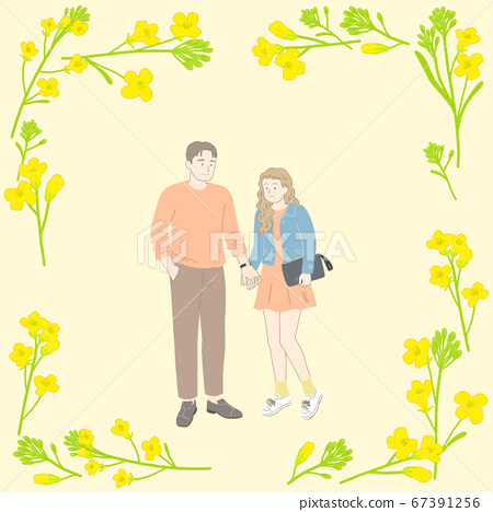 Spring floral frame with happy people illustration 008 67391256
