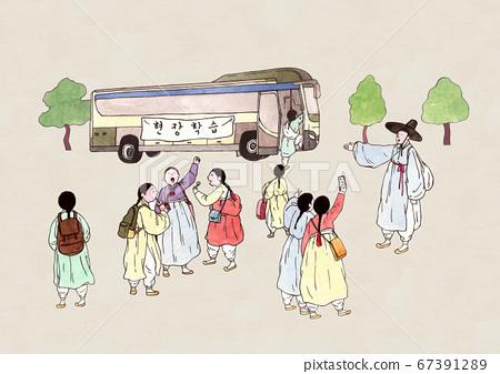 Korean retro pop art style, traditional education concept illustration 004 67391289