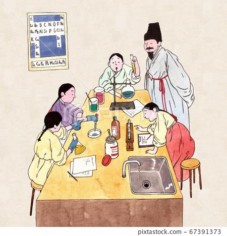 Korean retro pop art style, traditional education concept illustration 007 67391373