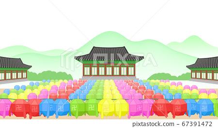 Buddhist event concept, a lighting ceremony to celebrate Buddha's birthday illustration 006 67391472